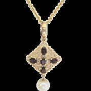 Vintage 14kt Garnet H-VS2 Diamond 1.10 cttw Cultured Pearl Pendant Necklace