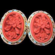 Vintage Chinese Sterling Enamel Cinnabar Earrings