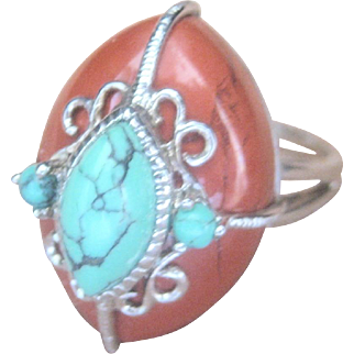 Vintage Sterling Carnelian Turquoise Cocktail Ring
