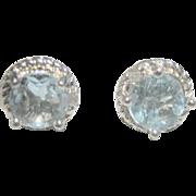 Vintage Pale Blue 2 ct Topaz Sterling Stud Earrings