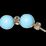 Vintage 14kt 8mm Turquoise Stud Ball Earrings
