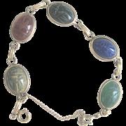 Vintage Gold Plated Real Stone Scarab Bracelet