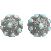 Vintage 800 Silver Persian Turquoise Button Earrings