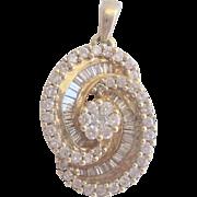 Vintage 14kt 2 ct F-SI Diamond Pendant