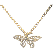 Vintage 14kt Butterfly on Gold Plated Chain