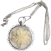 Antique Victorian 800 Silver Pressed Flower Locket with Silver Tone Chain Necklace