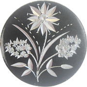 Antique Large Painted Sterling Silver Floral Motif Victorian Button