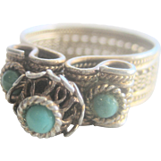 Vintage Sterling Gilt Persian Turquoise Cocktail Ring
