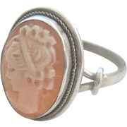 Vintage 800 Silver Cameo Ring