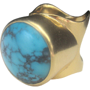 Vintage 18kt Natural Turquoise 15 grams 1980's Cocktail Ring