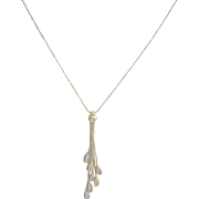 Vintage 14kt White Rose Yellow Gold Dangle Necklace