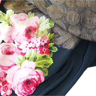 Vintage Art Deco Metallic Golden Lame' Woven Black Silk Pink Rose Printed Shawl or Large Scarf ~ Beautiful Roses