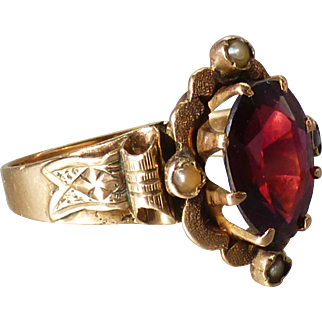 Antique Victorian 14k Gold Bohemian Garnet Ring with Ribbon Motif Band