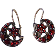 Petite Antique Victorian Bohemian Garnet Dormeuse Earrings ~ Crescent Moon and Star Motif