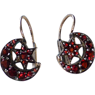 Petite Antique Victorian Bohemian Garnet Dormeuse Earrings ~ Crescent Moon and Star Motif