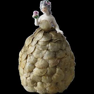 Vintage Dressel and Kister German Porcelain Half Doll Arms Away Holding a Rose Original Sea Shell Gown Dress Boudoir Lamp Night Light