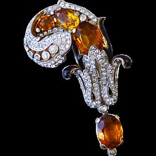 "Vintage 1940s Trifari Alfred Philippe Empress Eugenie Plume Form Fur Clip Pin 3-1/4"""