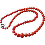 Vintage Natural Tomato Red Coral Carved Graduated Bead Necklace, 17-3/4 Inches Long, 21.9 Grams