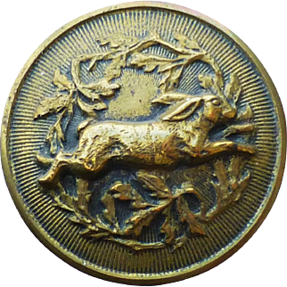 Antique Brass Running Rabbit Sporting Button 1 Inch