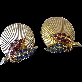 Vintage Pair Signed Boucher Cabochon Set Clip Earrings