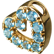 14k Yellow Gold Blue Topaz Heart Slide Pendant Charm