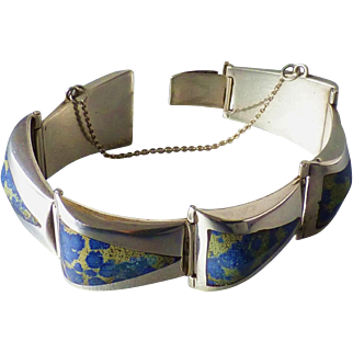 Signed Ledesma Vintage Mexican Sterling and Inlaid Spotted Blue Stone Bracelet