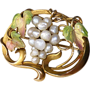 "Antique Art Nouveau Edwardian 10k Gold and Enamel Leaves Freshwater Pearl Grapes Pin ~ Small Size 7/8"" x 1-1/8"""