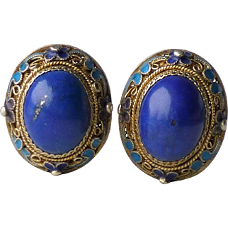 Vintage Chinese Gilt Silver, Enamel and Lapis Lazuli Cabochon Clip Earrings