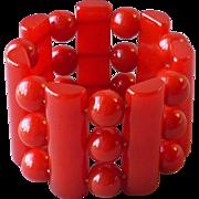Fab Vintage Cherry Red Bakelite Wide Stretch Bracelet