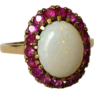 Vintage 10k Yellow Gold Opal Ruby Halo Ring Finger Size 8-3/4