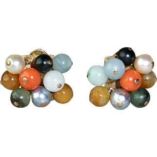 Retro Vintage 14k Yellow Gold and Mixed Bead Clip Earrings...Cultured Pearl, Jade, Coral, Agate Beads