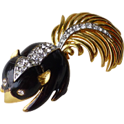 Little Vintage Signed Boucher Enamel Rhinestone Skunk Pin