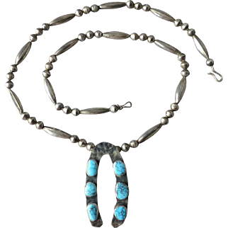 Vintage Southwestern Sterling Bead and Spiderweb Turquoise Hammered Silver Naja Necklace