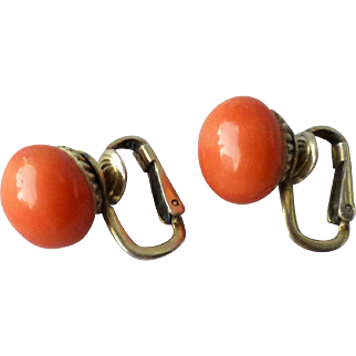 Vintage Gilt Sterling Silver and 11mm Natural Salmon Coral Clip Earrings