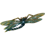 Vintage French Carved and Tinted Horn Antler Dragonfly Pin