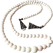 Vintage Blush Pink Angel Skin White Coral or Conch Shell Bead Necklace with 835 Silver Hook Clasp