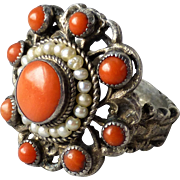 Antique Austro-Hungarian 800 Silver Coral and Seed Pearl Ring