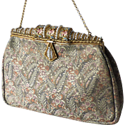 Vintage French Woven Metallic Thread Brocade Evening Bag with Enamel Beaded Faux Pearl Frame Clasp Purse Paris France