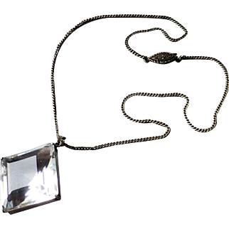 Vintage Open Back Faceted Cut Crystal Pendant Silver Chain Necklace