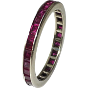 Estate Vintage 14k White Gold and Ruby Eternity Band Ring