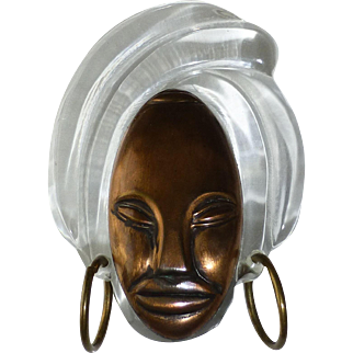 Vintage Elzac Carved Lucite Turban Bonnet Head Glamour Head Pin Victim of Fashion ~ Lady with Hoop Earrings