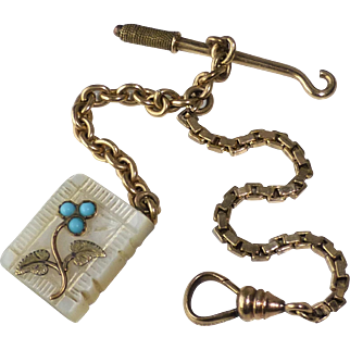 Antique Miniature Gold Filled Watch Chain with Carved Mother of Pearl Book Fob and Button Hook For Doll or very small Child