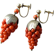 Vintage 800 gilt Silver and Coral Beaded Grapes Drop Earrings