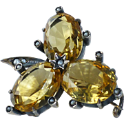 Antique 800 Gilt Silver Seed Pearl and Citrine Clover Leaf Shamrock Pin