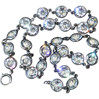 Fine Vintage Open Back Sterling Silver Bezel Set Cut Crystal Necklace~ Beautiful Sparkly 8mm Crystals