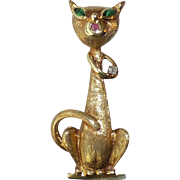 Vintage Mod 14k Yellow Gold Sophisticated Feline Green Eyed Cat Pin, Ruby, Diamond Mid Century Style