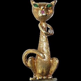 Vintage Mod 14k Yellow Gold Sophisticated Feline Green Eyed Cat Pin, Ruby, Diamond Mid Century Style