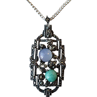 Vintage Art Deco Sterling Marcasite Chalcedony Aventurine Pendant Necklace