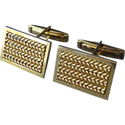 Estate 750 18k Yellow Gold Framed Chain Pattern Cufflinks