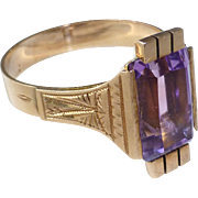 Antique Victorian 14k Gold and Amethyst Ring Larger Finger Size 9